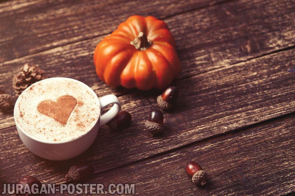 A Cup Of Coffee On The Autumn Background Jual Poster Di