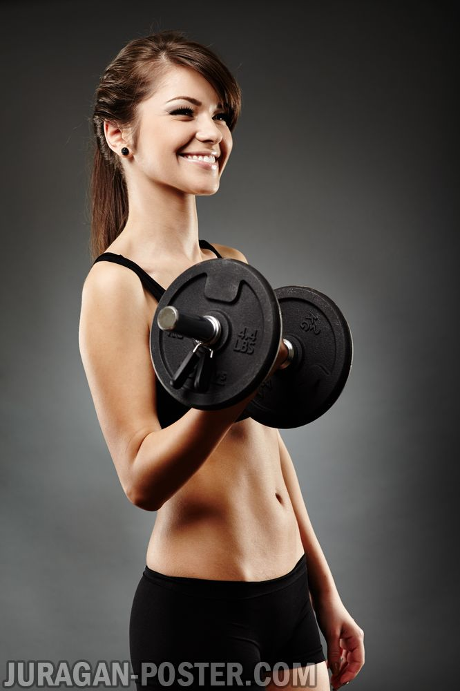 Athletic Young Lady Doing Workout With Weights Jual Poster Di Juragan Poster