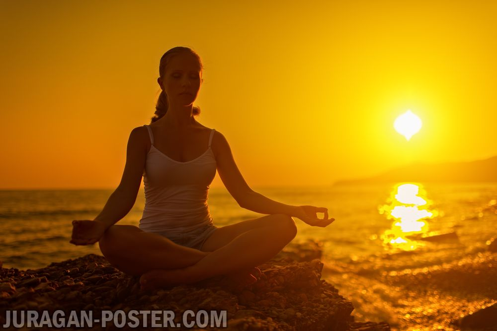 Yoga At Sunset On The Beach Jual Poster Di Juragan Poster