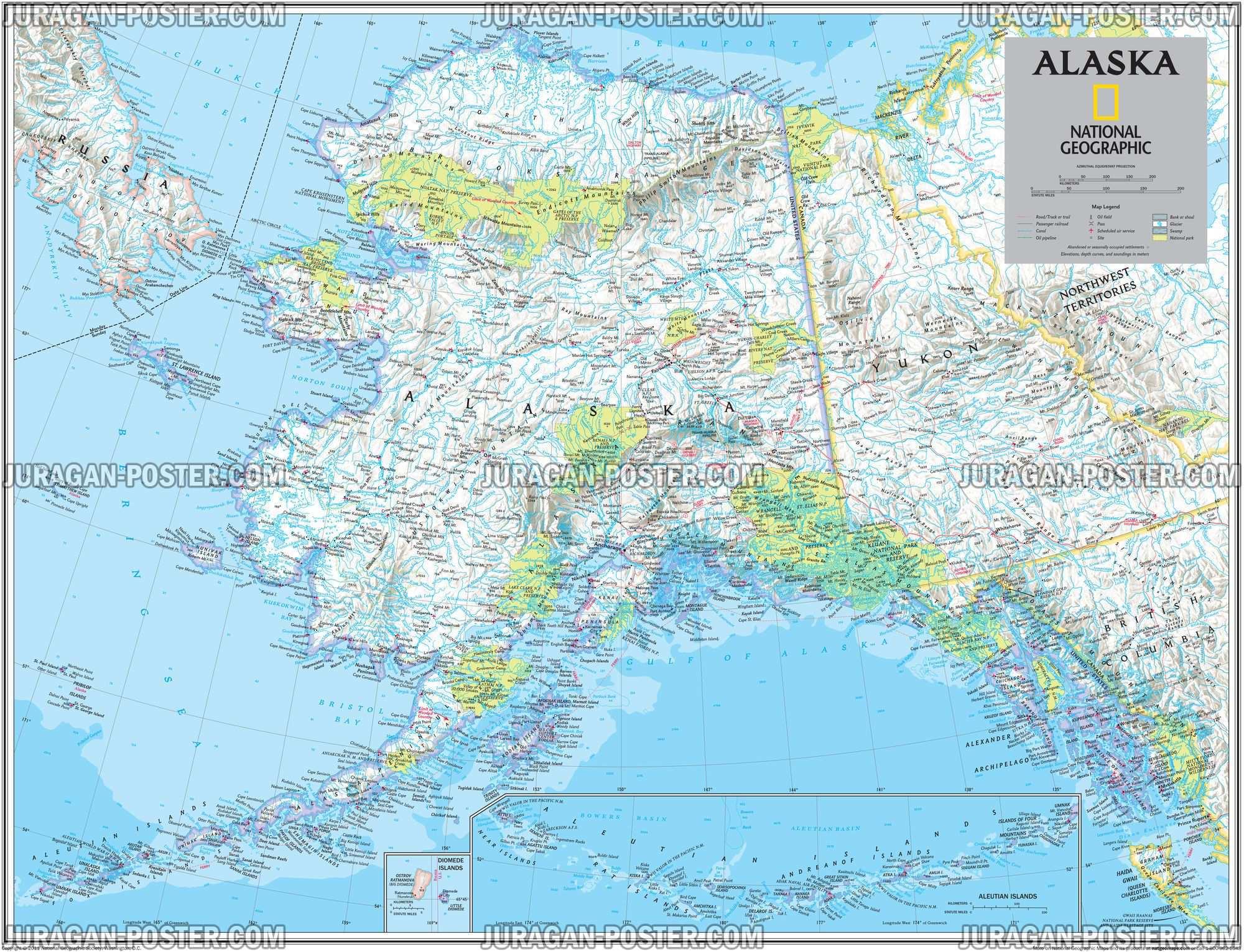 National geographic maps 02 jual poster di juragan poster ngm138united states alaska 2011 ngnea 120x156cm gumiabroncs Images