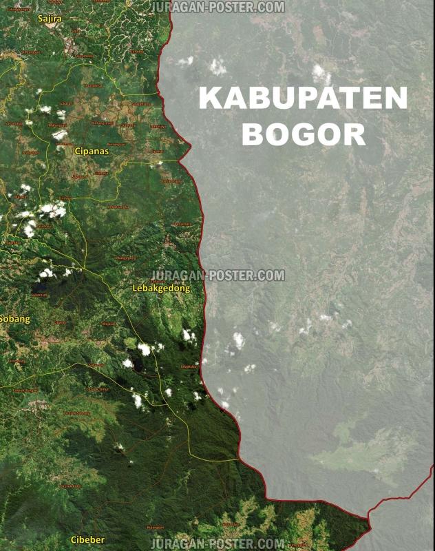 Peta Kabupaten Lebak Tampilan Satelit - Jual Poster di ...