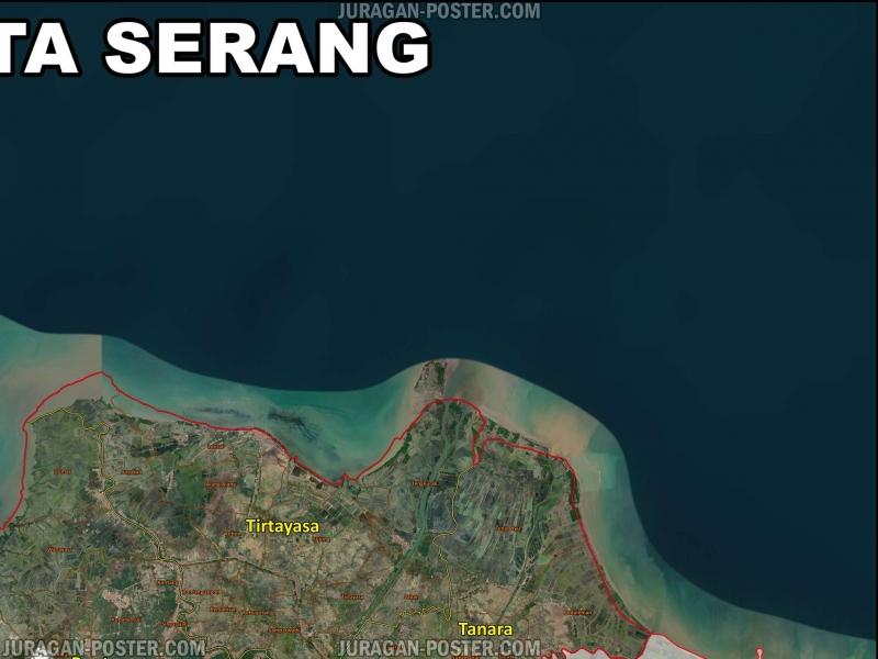 Peta Kabupaten Serang Tampilan Satelit - Jual Poster di ...
