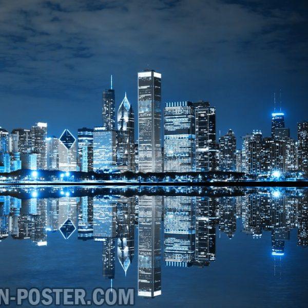 jual poster pemandangan kota chicago