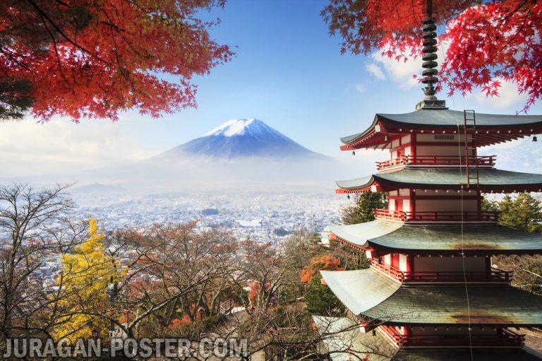 jual poster pemadangan gunung fujiyama jepang