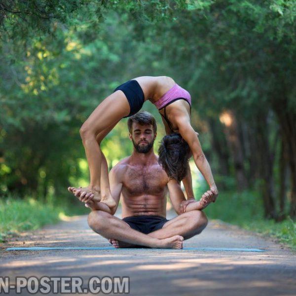 Jual poster gambar yoga couple berpasangan
