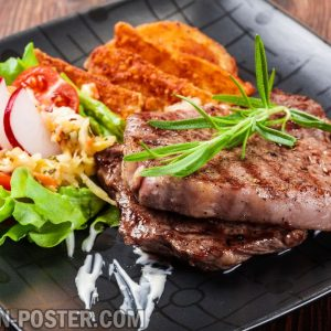jual poster gambar makanan BBQ and Steaks 02