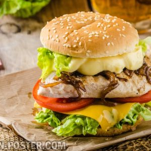 jual poster gambar makanan hamburger 01