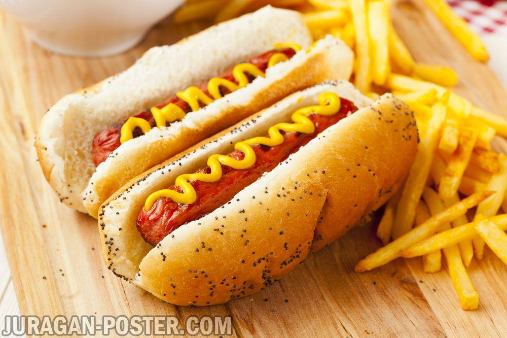 jual poster gambar makanan Hot Dog
