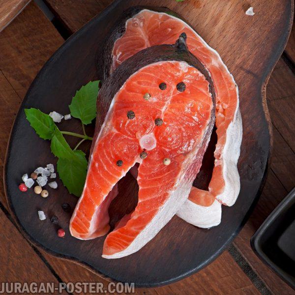 jual poster gambar makanan daging ikan mentah