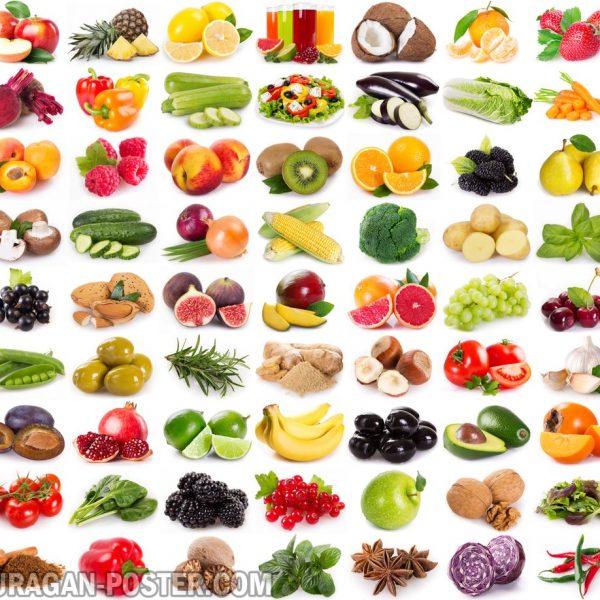 jual poster gambar sayuran dengan background putih