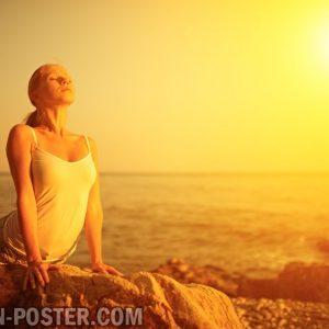 jual poster gambar yoga sunset