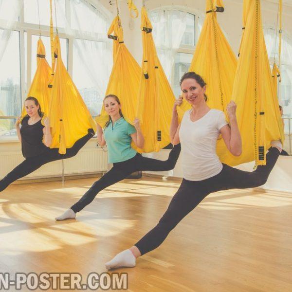 jual poster gambar Group classes of aerial fly yoga