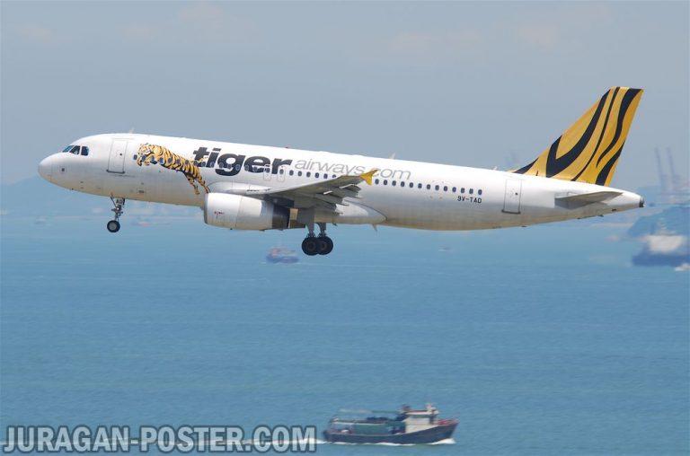 jual poster gambar pesawat Tiger Airways