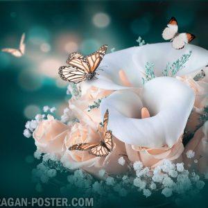 jual poster bunga dalam Bouqet and vase 01