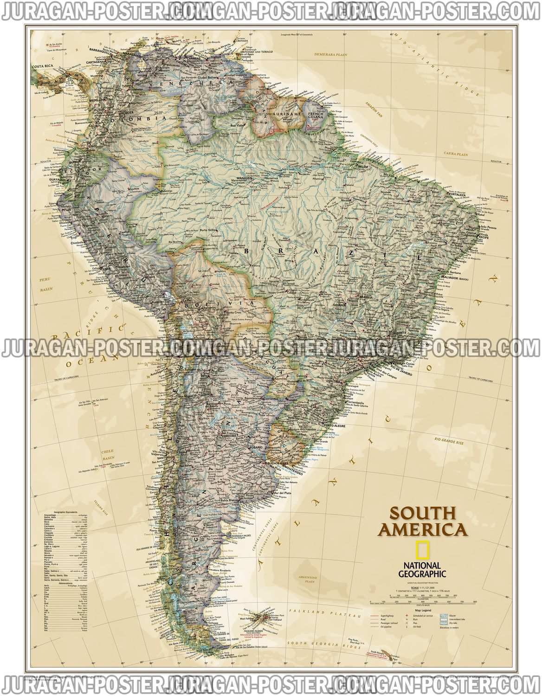 Jual Peta Amerika utara, selatan dan tengah Lengkap
