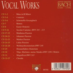 Jual Mp3 Kompilasi Musik Klasik Johann Sebastian Bach Complete Works 160 CD 3 vocal works