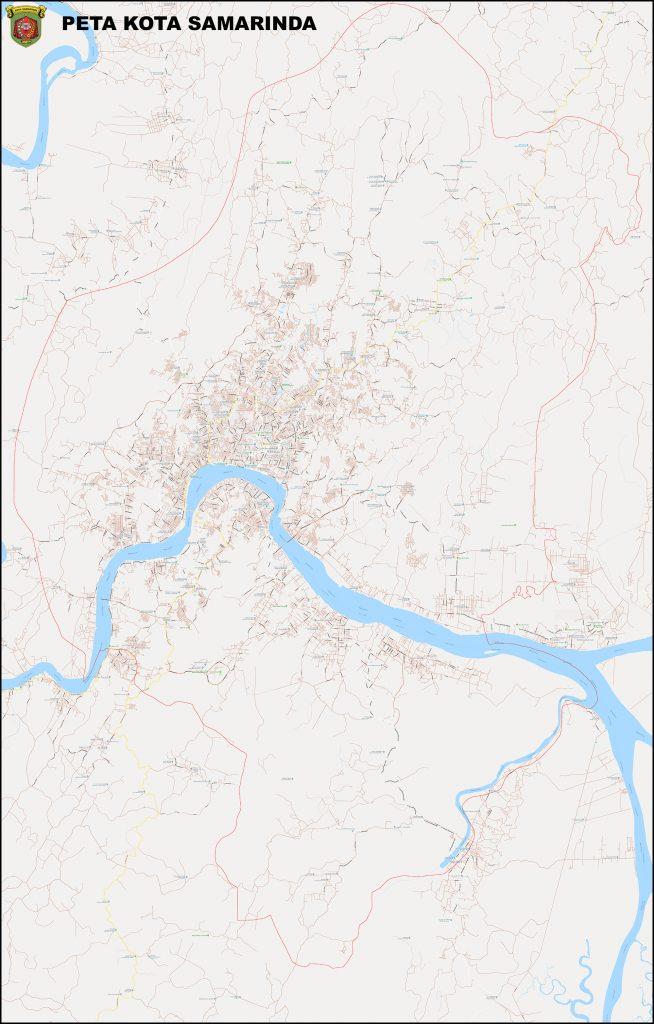 Jual Peta Kota Samarinda lengkap ukuran besar