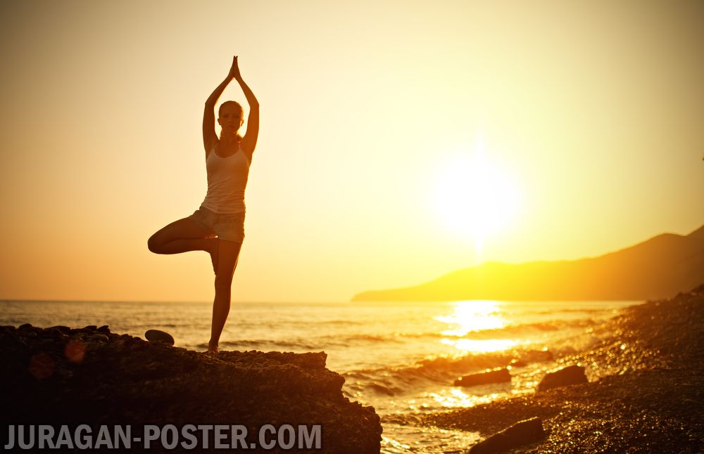Yoga At Sunset On Beach Jual Poster Di Juragan Poster