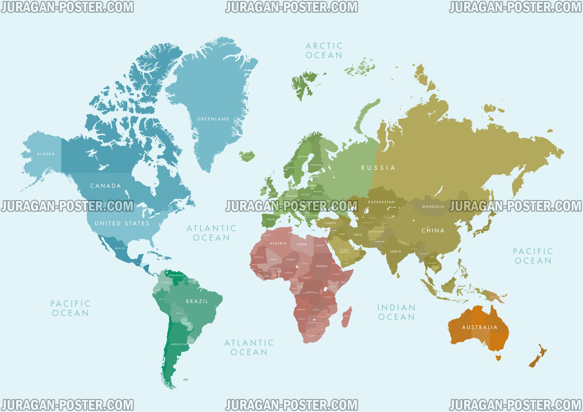 World Map Peta Dunia Jual Poster Juragan Maps 027 120x170cm