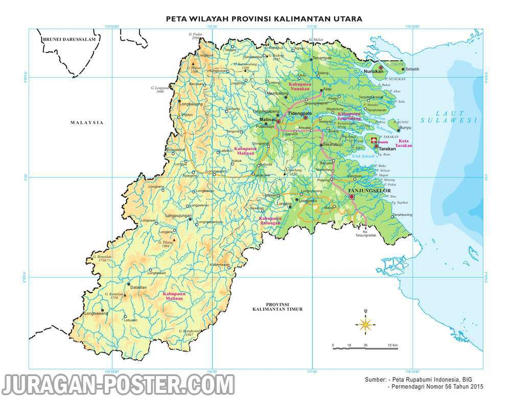 Peta 34 Provinsi Indonesia Jual Poster Juragan 24 Pwp Kaltara