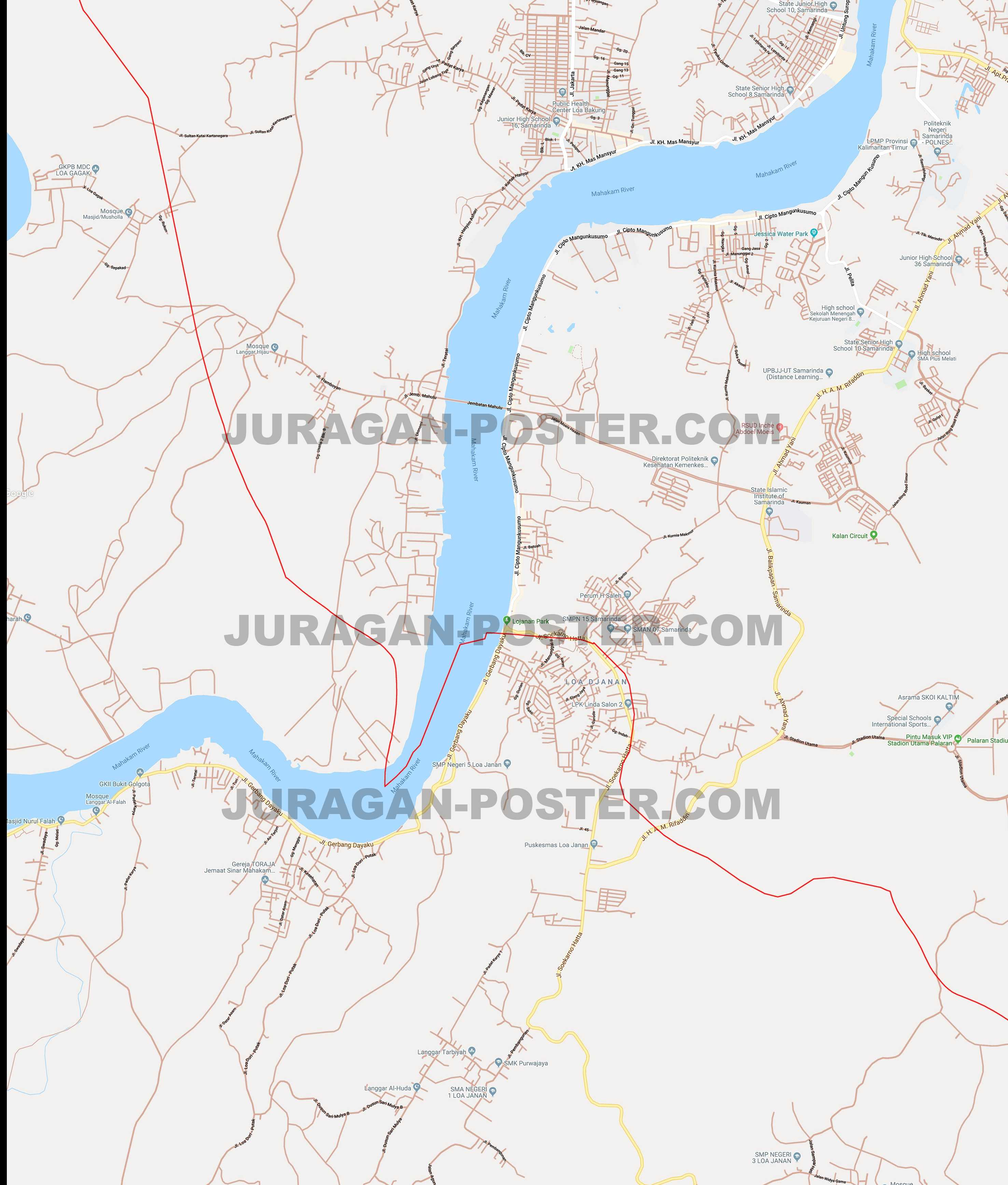 Jual Peta Kota Samarinda ukuran besar – Jual Poster di