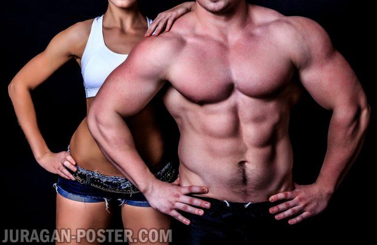 jual poster gambar binaraga couple