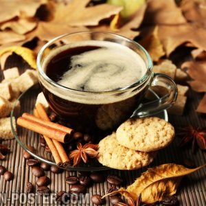 jual poster gambar minuman kopi dengan latar belakang autumn
