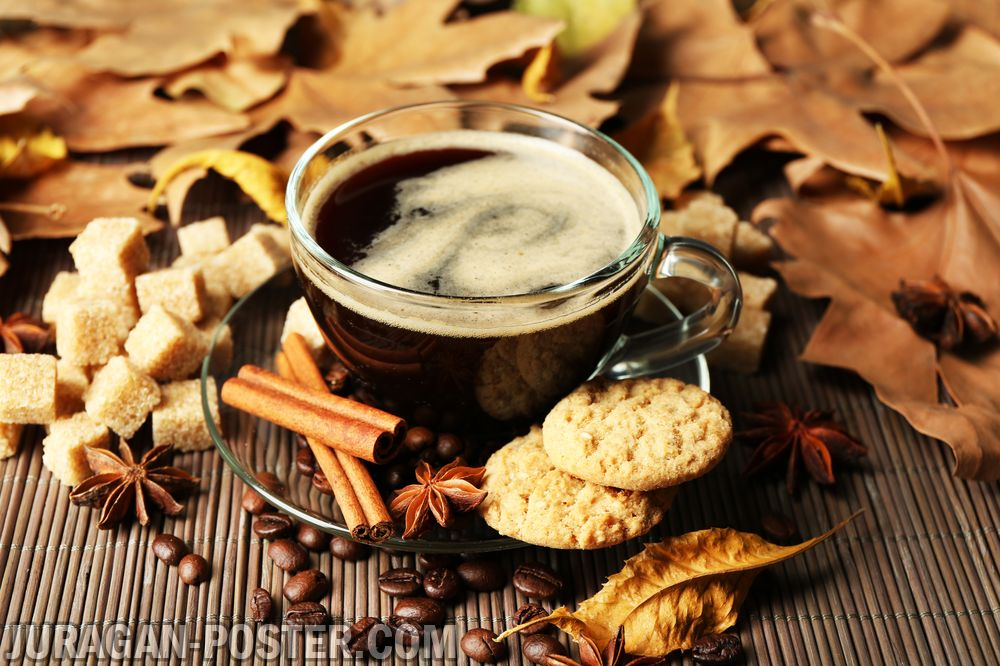 A Cup Of Coffee On The Autumn Background Jual Poster Di Juragan Poster