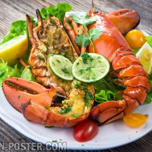 Jual poster gambar makanan seafood mixed