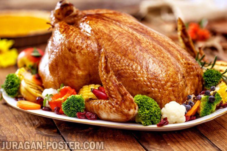 jual poster gambar makanan kalkun turkey
