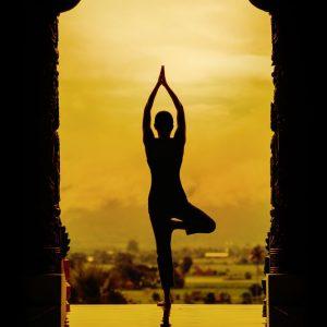 jual poster gambar siluet yoga
