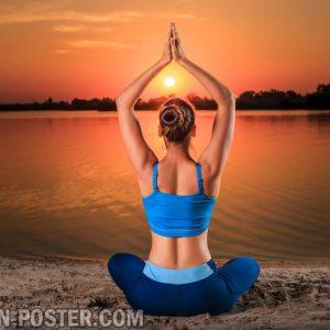 jual poster gambar yoga di tepi pantai