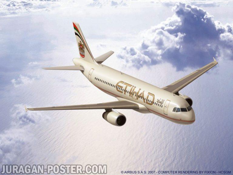 jual poster gambar pesawat Etihad Airways