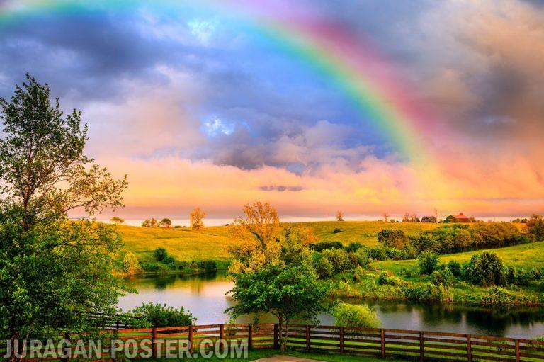 jual poster gambar pemandangan alam pelangi rainbow