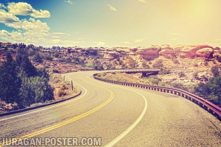 jual poster gambar pemandangan alam jalan road 02