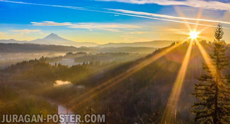 jual poster gambar pemandangan alam matahari terbit sunrise 02