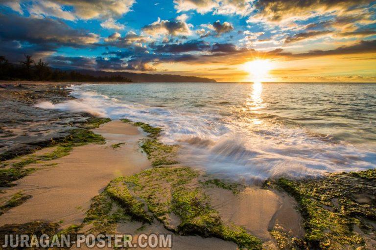 jual poster gambar pemandangan alam matahari terbenam sunset 01